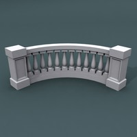 curve balustrade bend 3d max