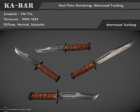 ka-bar knife 3d model