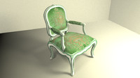 3d model of louis xv armchair