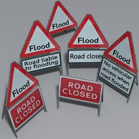 3d flood road sign