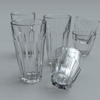 3d glass tumblers model
