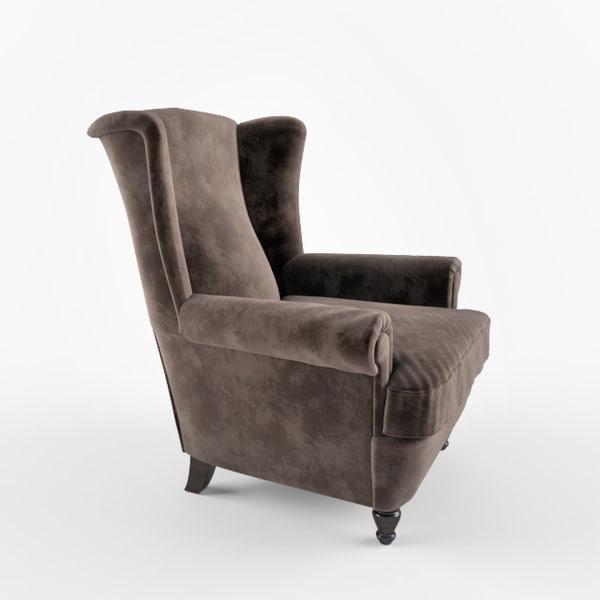 3d model poltrona frau dionisio armchair for Poltrona 3d