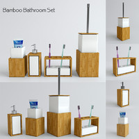 bamboo bathroom set 3d model
