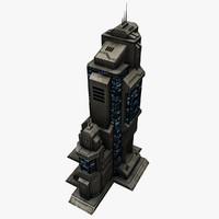 3d sci fi building model