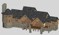 log home - timber 3d max