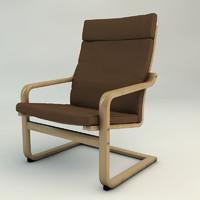 poang armchair chair materials 3d 3ds