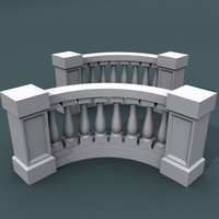 curve balustrade bend 3ds