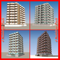 pack 4 apartment buildings 3d 3ds