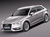 3d audi a3 2014 5-door model