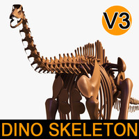 dino skeleton diplodocus separate 3d 3ds