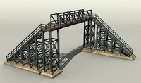 3d model of pedestrian railway bridge