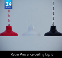 3d retro provence ceiling light model