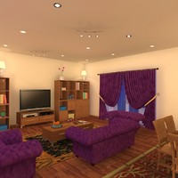 3d model living room night scene