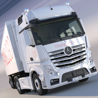 New Mercedes Actros MP4 GigaSpace 2012 Truck with refrigerated semitrailer.