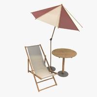 set umbrella table 3d c4d