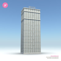 3d model of skyscraper 16 day night
