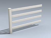 quad-rail farm fence 3d max