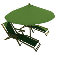 3ds max beach chairs umbrella
