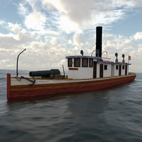 3d american civil war tugboat model