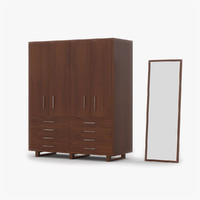 3d model of closet cherry wood