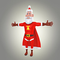 cartoon super santa 3d model