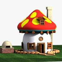 3d model mushroom house smurf
