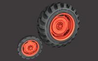 tractor wheel 3d obj