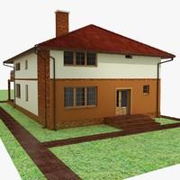 3d model house garden interior