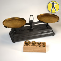 3d antique balance scales