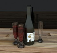 red wine bottle 3d model