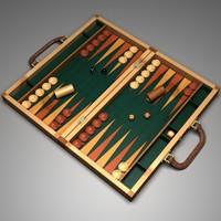 3d model backgammon board dices