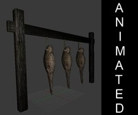 3d hunters hanging animations model