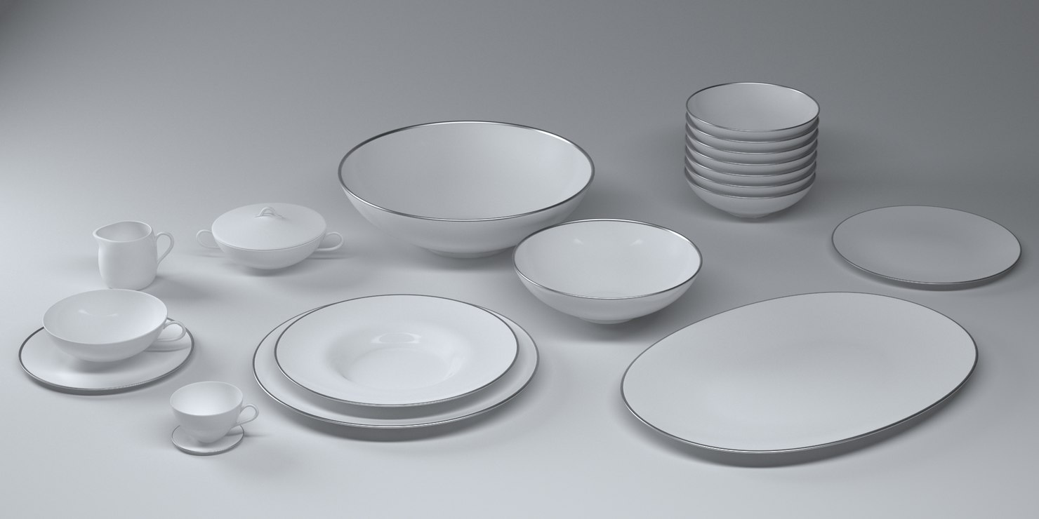 Set alessi mami platinum 3d model - Alessi dinnerware sets ...