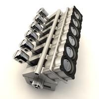 v12 cylinder crankshaft 3d model