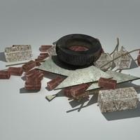 junk rubble pile 3d model