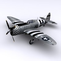 3d p-47 thunderbolt fighter p-47d model