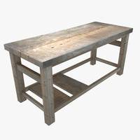 3d wooden workbench table model
