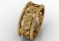 flower foliage gold ring band