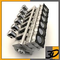 3d v12 cylinder crankshaft