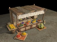 fruit stall 3d max