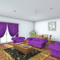 living room scene architectural 3d c4d