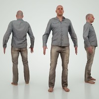 3d model male character jeans
