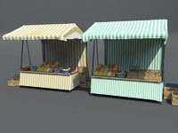 market stalls 3d model