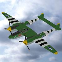 p38 lightning 3d model