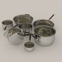 saucepan pot set frying pan 3d obj