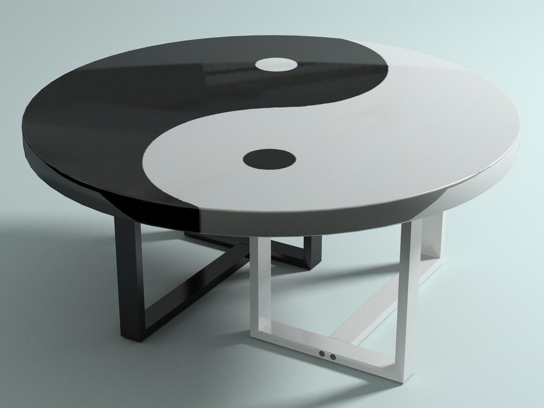 yin yang table 3d max On table yin yang