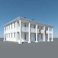 colonial house wood 3d model