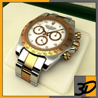 3d model gold plated rolex daytona