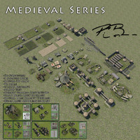 3d medieval strategy buildings