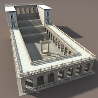 3d model castle patio montecassino
